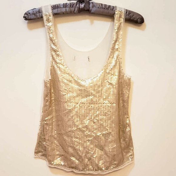 Forever 21 Tops - Forver 21 - Sequined Tank Top - Gold & White